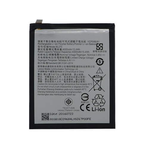 Original Lenovo K8 Note Battery Replacement BL270 4000mAh
